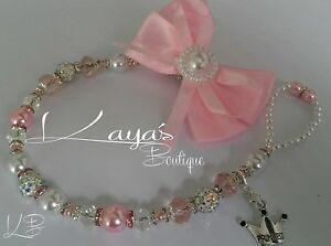 Bling Big bow Shamballa Crystal Pearl Romany Dummy Clip *Any Name*Pink/White*