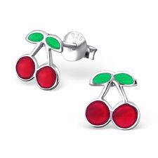 925 Sterling Silver Cherry Kids Girls Women Stud Earrings Jewellery Gift