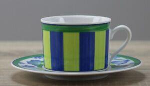 Winterling Dessina grün/blau Kaffeetasse/Stapeltasse Ø ca. 8 cm mit Untertasse