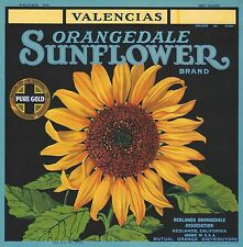 "RARE OLD ORIGINAL 1920 ""SUNFLOWER BRAND"" VALENCIAS LABEL ART REDLANDS CALIFORNIA"