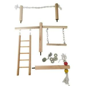 Parrot Climbing Ladder Swing Toy Natural Wood Bird Conure Cage Stand Rope Perch