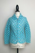 Anthropologie Laurie B Turquoise Wool Crochet Sweater S