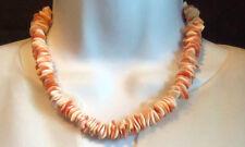 VINTAGE HEAVY 67 GR ANGEL SKIN & ORANGE CORAL NECKLACE   Estate Jewelry so petty