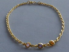 "10"" Ankle Bracelet- Gold Filled- 3 Center Crystals-Pink-Purple-Oran ge"