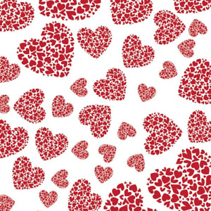 Valentine Day Double Hearts Cellophane Red White Gift Flower Wrap 2 MX80 cm