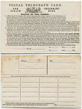 GB QV POSTAL TELEGRAPH CARD UNUSED STATIONERY c1870
