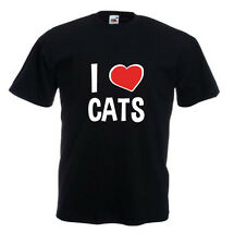 Tshirt noir homme manches courtes Fruit Of The Loom I LOVE CATS