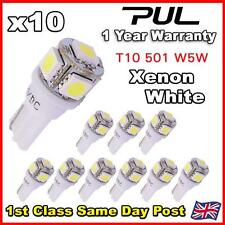 10x 501 T10 W5w Push Cuña 5 Smd Led 360 Hid lado blanco luz bombillas