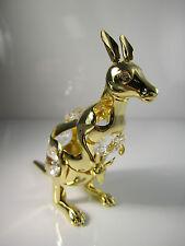 canguro con Swarowski CRISTALES equipado chapado en oro decoración NUEVO Canguro