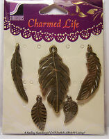 Charmed Life Leaf Charm Assortment 5 New Antique Brass pcs for Jewelry &  Crafts