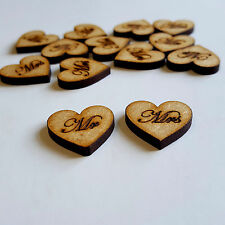 50x Wooden Mr & Mrs Engraved Hearts, Embellishments Arts Craft 20mm x 20mm OAK