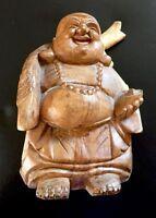 Madera Tallado Buda Firmado