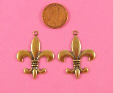 Top Ring Finding - 2 Pc(s) Ant Brass Fleur De Lis W/