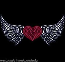 Heart with Wings Rhinestone Iron on Transfer     9ATH