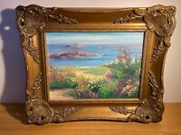 Original Campbell Framed Oil Impressionist Beach Seascape Painting (c.1960)