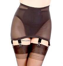 NYLONZ Vintage Style Classic POWERMESH OB 6 Strap Girdle Black (6 Suspenders)