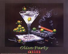 "Michael Godard ""OLIVE PARTY 2"" Martini-Olives-Cigar-Las Vegas-Party-Poster"