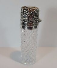 ANTIQUE VICTORIAN HM SILVER GLASS PERFUME SCENT SALTS BOTTLE CHARLES MAY 1891