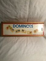 Vintage Childrens Wood Wooden Domino Set with Box