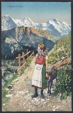 BELLUNO ZOLDO 17 COSTUME FOLKLORE CAPRA GOAT Cartolina viaggiata 1913