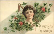 Beautiful Woman Face in Anchor c1910 Christmas Postcard rpx