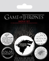 Official Game Of Thrones Winter Is Coming Stark Badge Pack Of 5 Novelty TV Gift