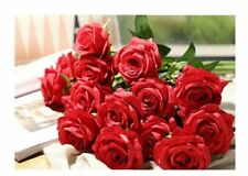 Artificial Flowers Roses Red White Fake Silk Bouquet Wedding Decorations 11 Pcs