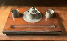 18th Century Early American Pewter Ink well, quill Inkwell Set With Wood Tray