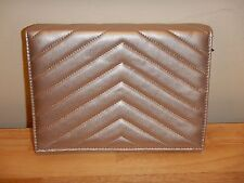 NEW Neiman Marcus Metallic Gray Clutch Quilted Faux Leather Handbag Purse Formal