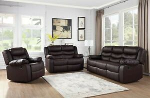 Espresso Brown Vinyl 3PC Sofa Loveseat Chair 5-Recliner Upholstered Living Room