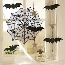 Halloween Party Table Runner Black Lace Spider Web Tablecloth Decor Cover Q