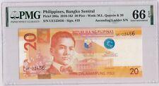 Philippines P#206d 123456 Ascending Ladder 20 Piso  PMG66 Gem UNC banknote