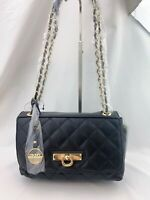 NWT DKNY Small Quilted Nappa Lamb Leather Crossbody Bag Black $250