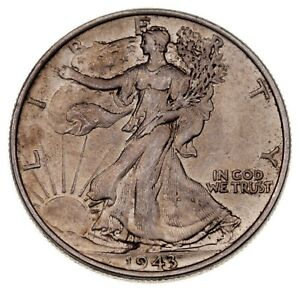 1943 50C Walking Liberty Half Dollar in Choice BU Condition, Full Mint Luster