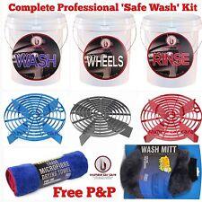 3 x Car Wash Buckets 16L, Grit Guards/Shields, Stickers, Drying Towel, Wash Mitt