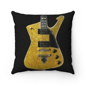 KISS Paul Stanley Ibanez PS-10 Gold Iceman Pillow Spun Polyester Square Pillow