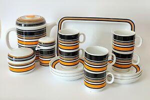 Retro Vintage 1970's Thomas Germany (Rosenthal) Coffee Tea Set Bengtsson Orange