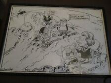 RARE FRANCIS BOYLE ORIGINAL POLITICAL CARTOON  Pen & Ink Framed & Signed 1980's