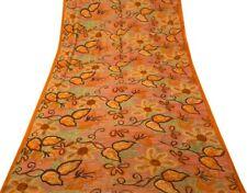 Vintage Indian Saree 100% Pure Georgette Silk Printed Sari 5 Yard Soft Fabric