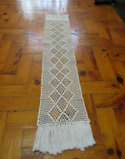 Handmade Doily White crochet table runner Long