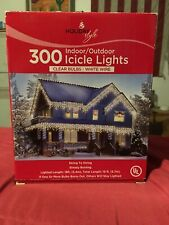 300 Clear Icicle Lights White Wire