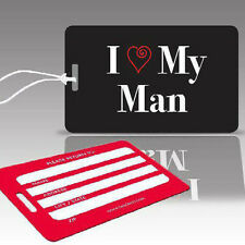 TagCrazy Wedding Luggage Tags, I Love My Man, Durable Plastic Loops-1 Pack