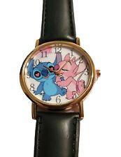 Lilo And Stitch Stitch And Angel Black Leather Band Timepiece