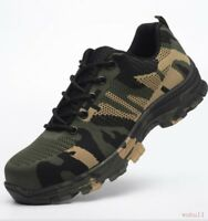 Mens Steel Toe Safety Work Shoes Lace Up Breathable Camo Hiking Climbing Boots