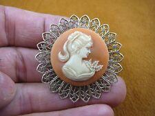 filigree Cameo scrolled brass Pin Pendant (Cs23-55) Ponytail Lady orange + ivory