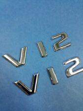 TWO PIECES CHROME * V12 * LETTER EMBLEM BADGES TRUNK LID AND FENDER EXTERIOR USE