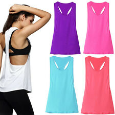 Damen Frauen Vest T-Shirt Tank TOP Trägertop Tanzen Yoga Sporthemd Weste