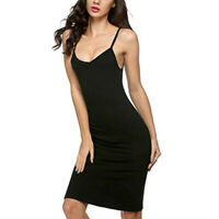 Cy_ Women Long Spaghetti Strap Dress Full Cami Camisole Slip Under Dress Liner S