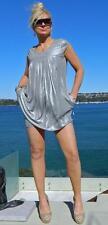 VINTAGE Cocktail Glamour Silver Metallic Retro Tulip Dress