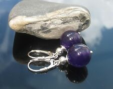 Handmade Round Amethyst Beads and Silver Beads 925 SILVER EARRINGS